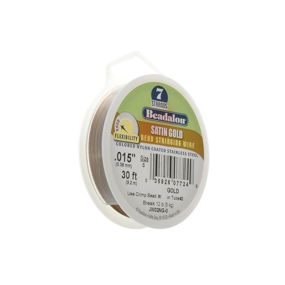 "Beadalon 7 Strand Wire .015"" Sat Gold 30ft (9.2m)"