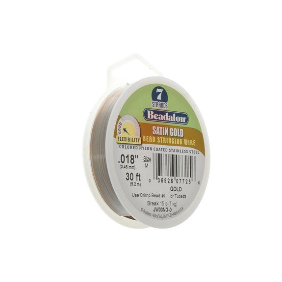 "Beadalon 7 Strand Wire .018"" Sat Gold 30ft (9.2m)"