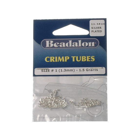 Beadalon Crimp Tube 1.3mm Silver Plate 1.5G