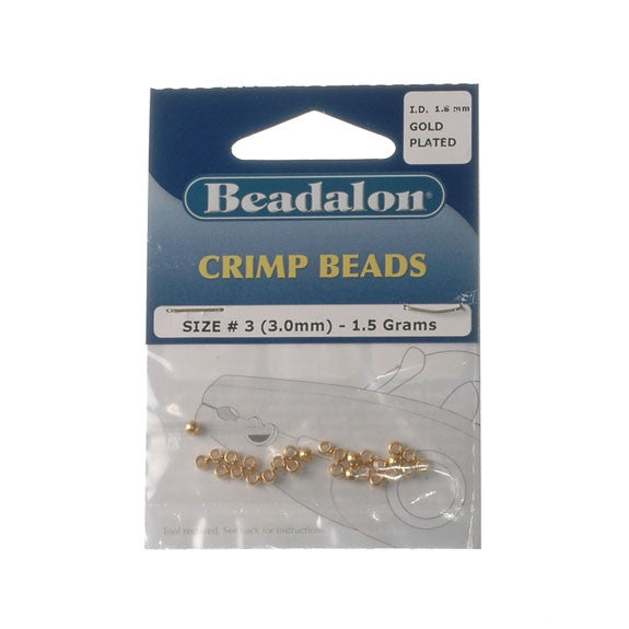 Beadalon Crimp Bead 3.0mm Gold Platet 1.5G