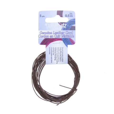 Leather Cord 0.5mm Round Brown 5yds
