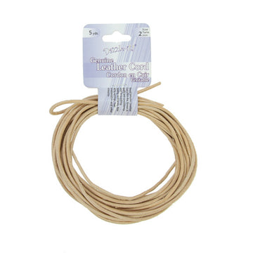 Leather Cord 2mm Round Natural 5yds