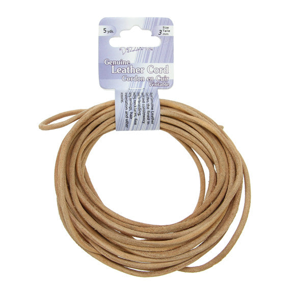 Leather Cord 3mm Round Natural 5yds