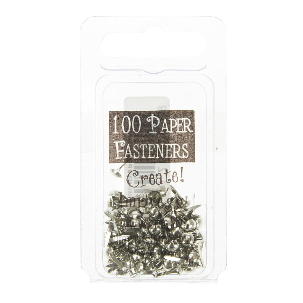 Mini Metal Paper Fasteners 3mm Silver - 100pk