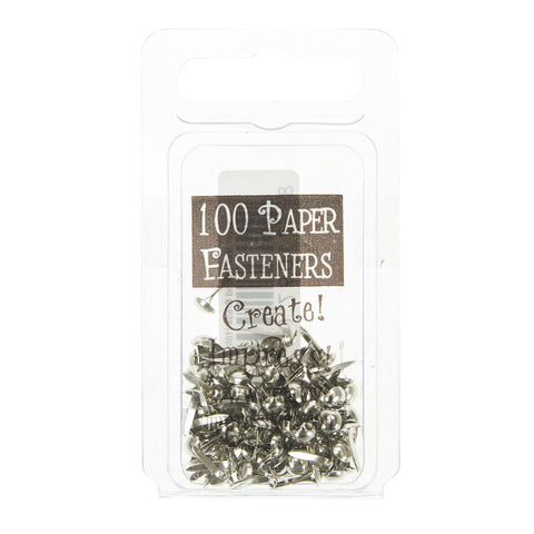 Mini Metal Paper Fasteners 5mm Silver - 100pk