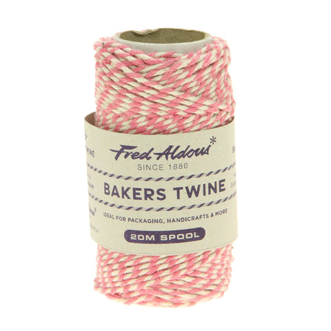 Fred Aldous - Original Bakers Twine - Rose Pink - White - 20mt