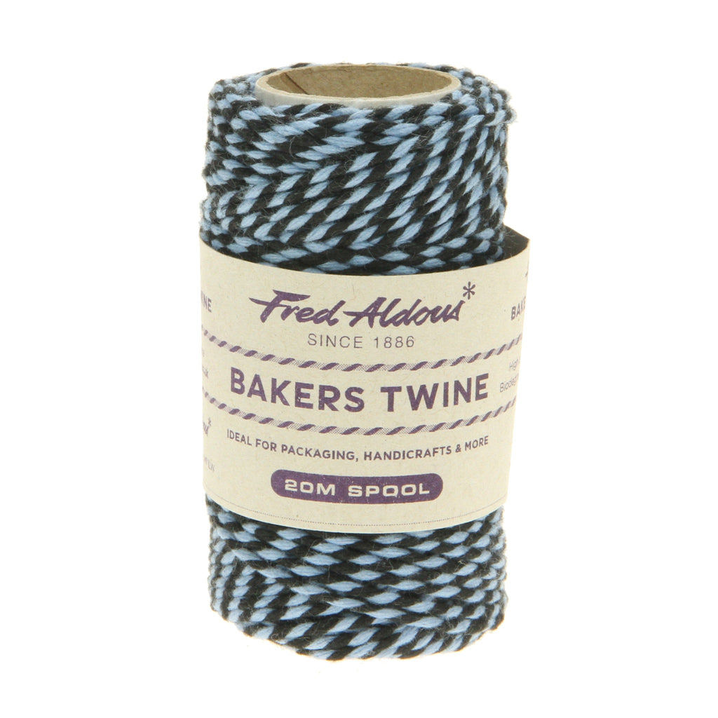 Fred Aldous - Two Tone Bakers Twine - Black - Sky - 20mt