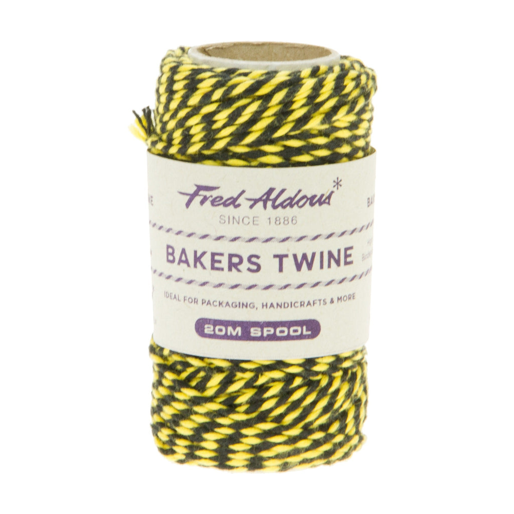 Fred Aldous - Two Tone Bakers Twine - Black - Yellow - 20mt