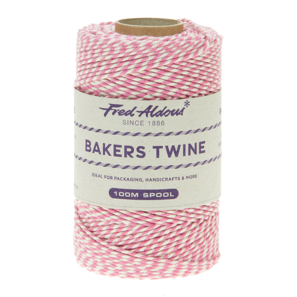 Fred Aldous - Original Bakers Twine - Rose Pink - White - 100mt