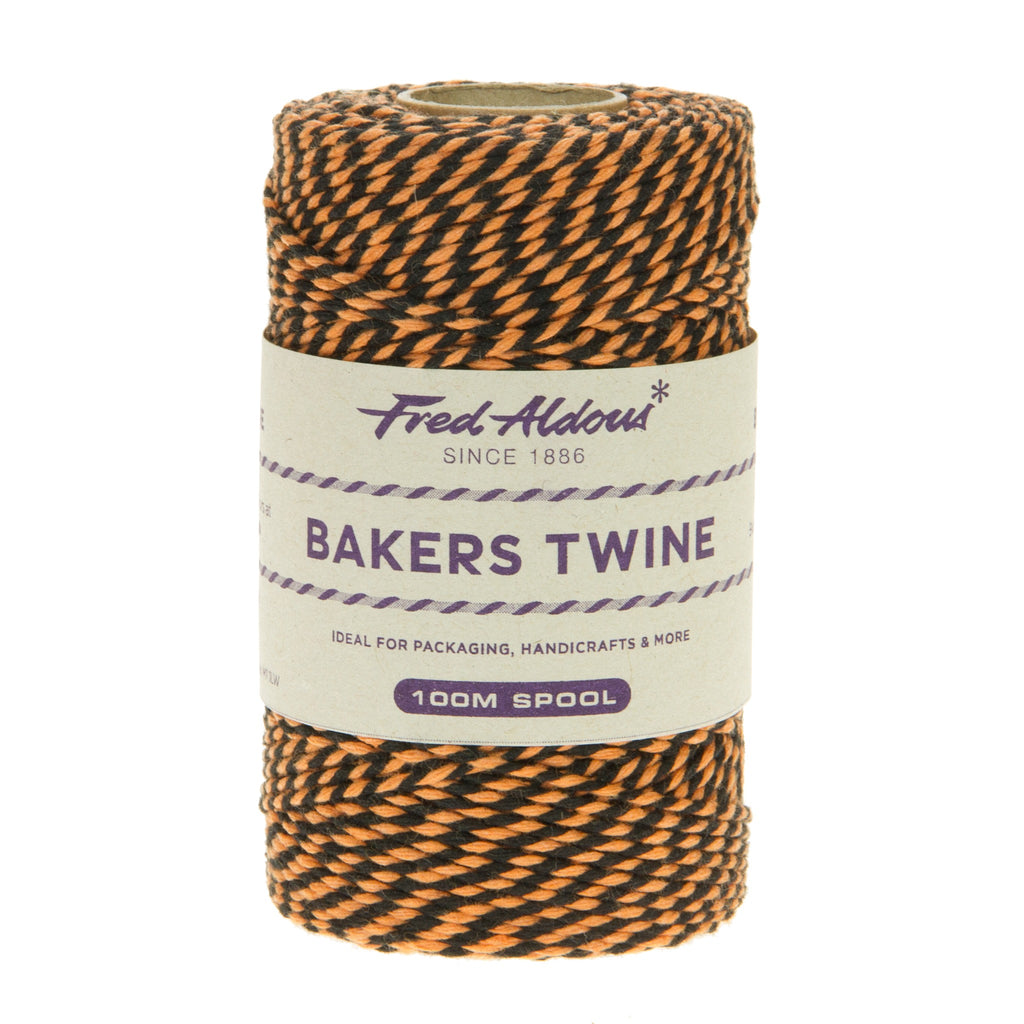 Fred Aldous - Two Tone Bakers Twine - Black - Orange - 100mt