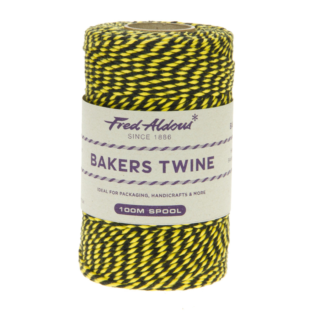 Fred Aldous - Two Tone Bakers Twine - Black - Yellow - 100mt