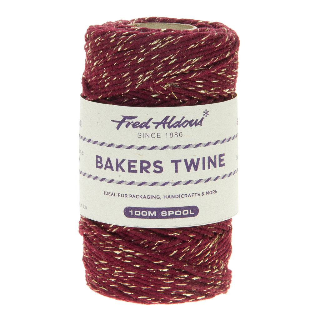 Fred Aldous - Sparkle Bakers Twine - Burgundy Sparkle - 100mt