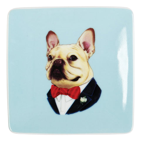 Berkley Bestiary Frenchie Portrait Square Poreclain Tray