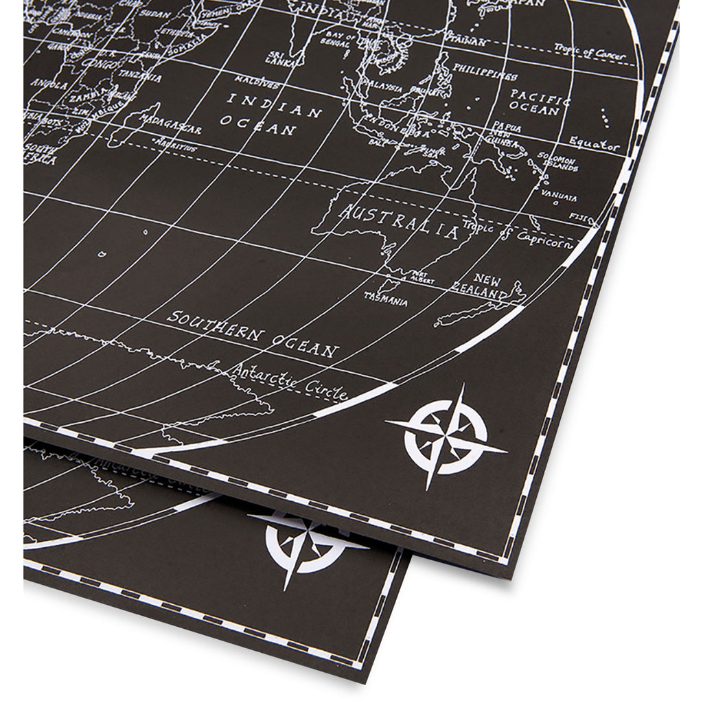 Black World Map Gift Wrap