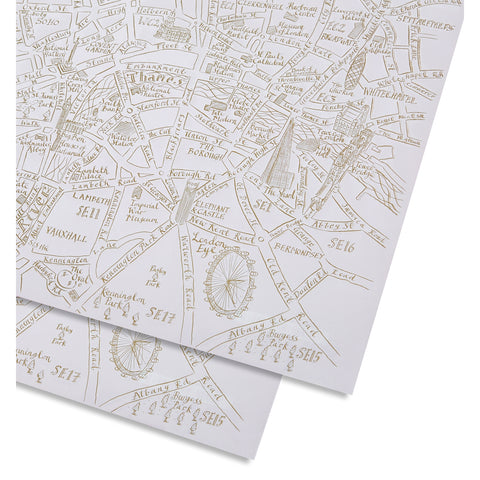 London Red & Gold Map Gift Wrap