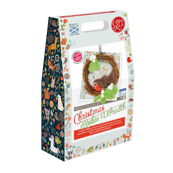 Christmas Robin Wreath Needle Felting Kit