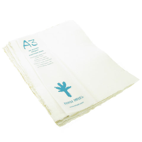 Handmade Paper made from 100% recycled Cotton Rag. A3, 20 sheets, 320gsm.