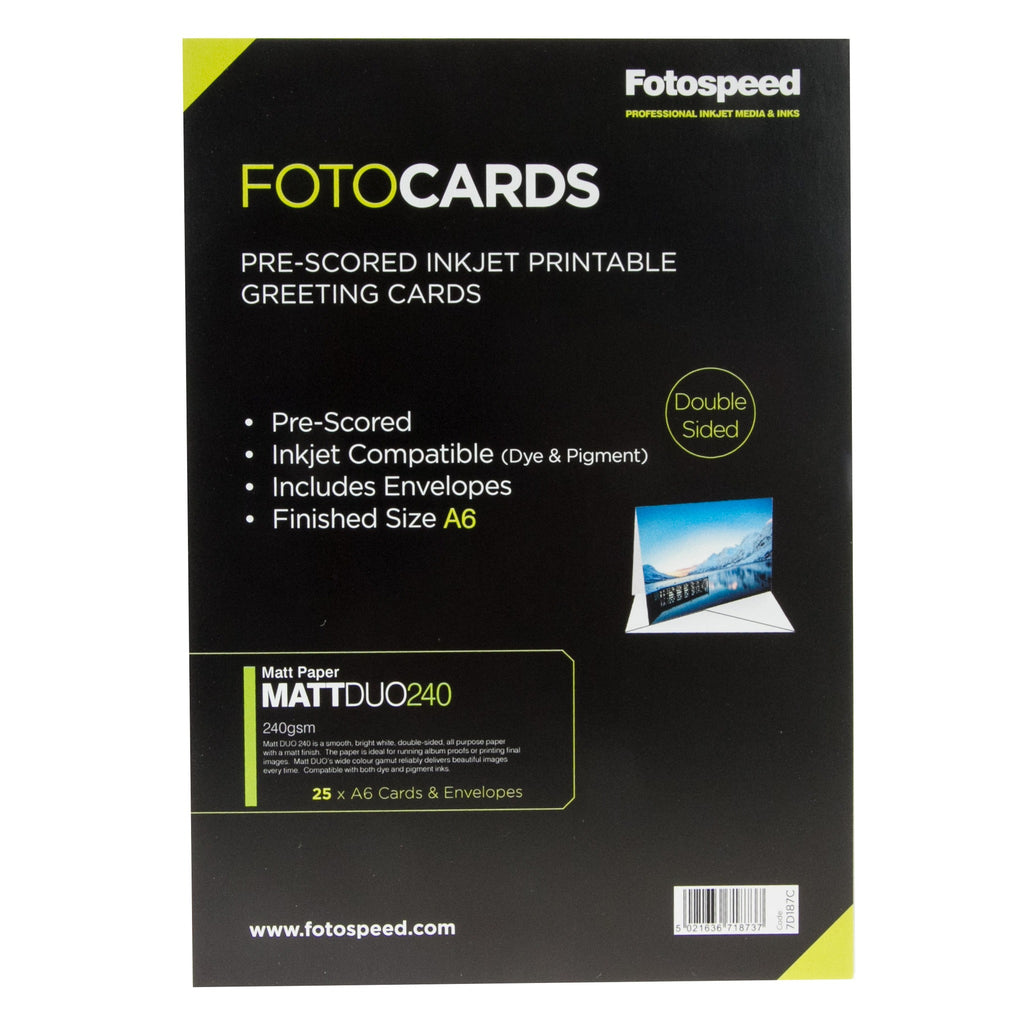 Fotospeed Matt DUO Pre Scored Cards 240gsm A6 - 25 pack