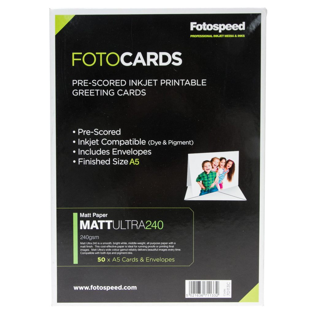 Fotospeed Matt Ultra Pre Scored Cards - 240gsm A5 - 50 pack