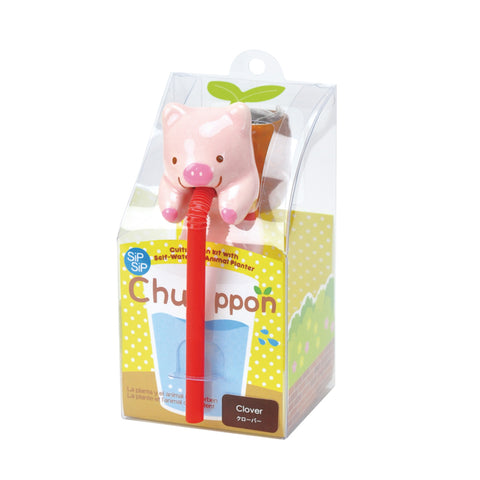 Chuppon Drinking Animal Planter - Pig / Clover