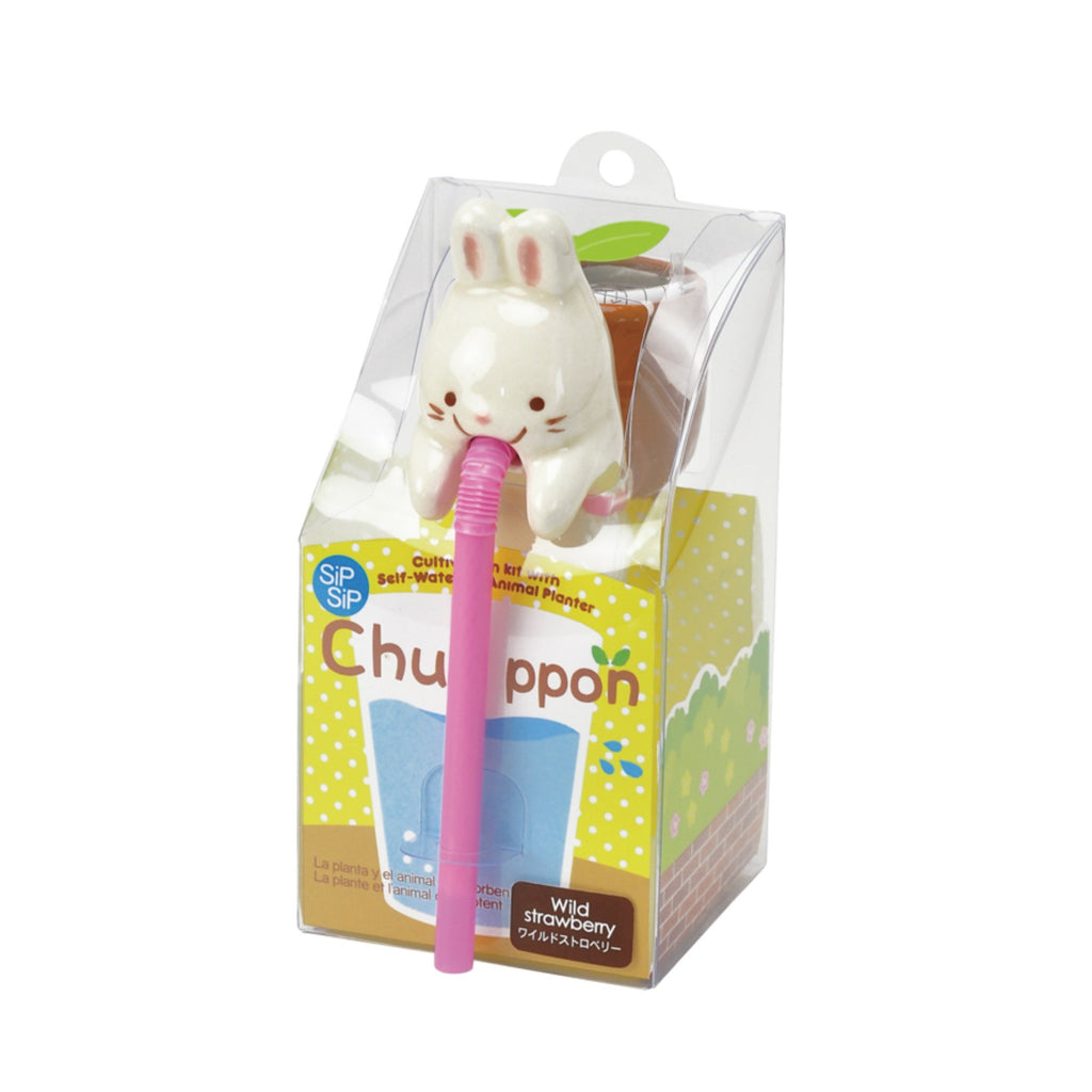 Chuppon Drinking Animal Planter - Rabbit / Wild Strawberry