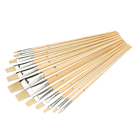 Silverline Artist Paint Brush Set 12pc - Flat Tip