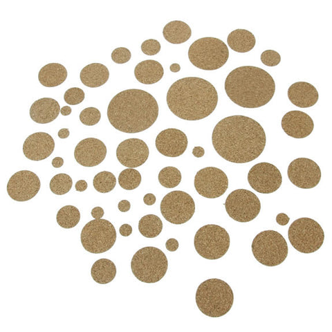 Cork Circles Self Adhesive Assorted - 45 Pack
