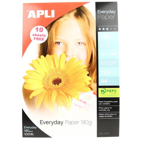 APLI Glossy Photo Paper - A4 - 180gm - 100pk