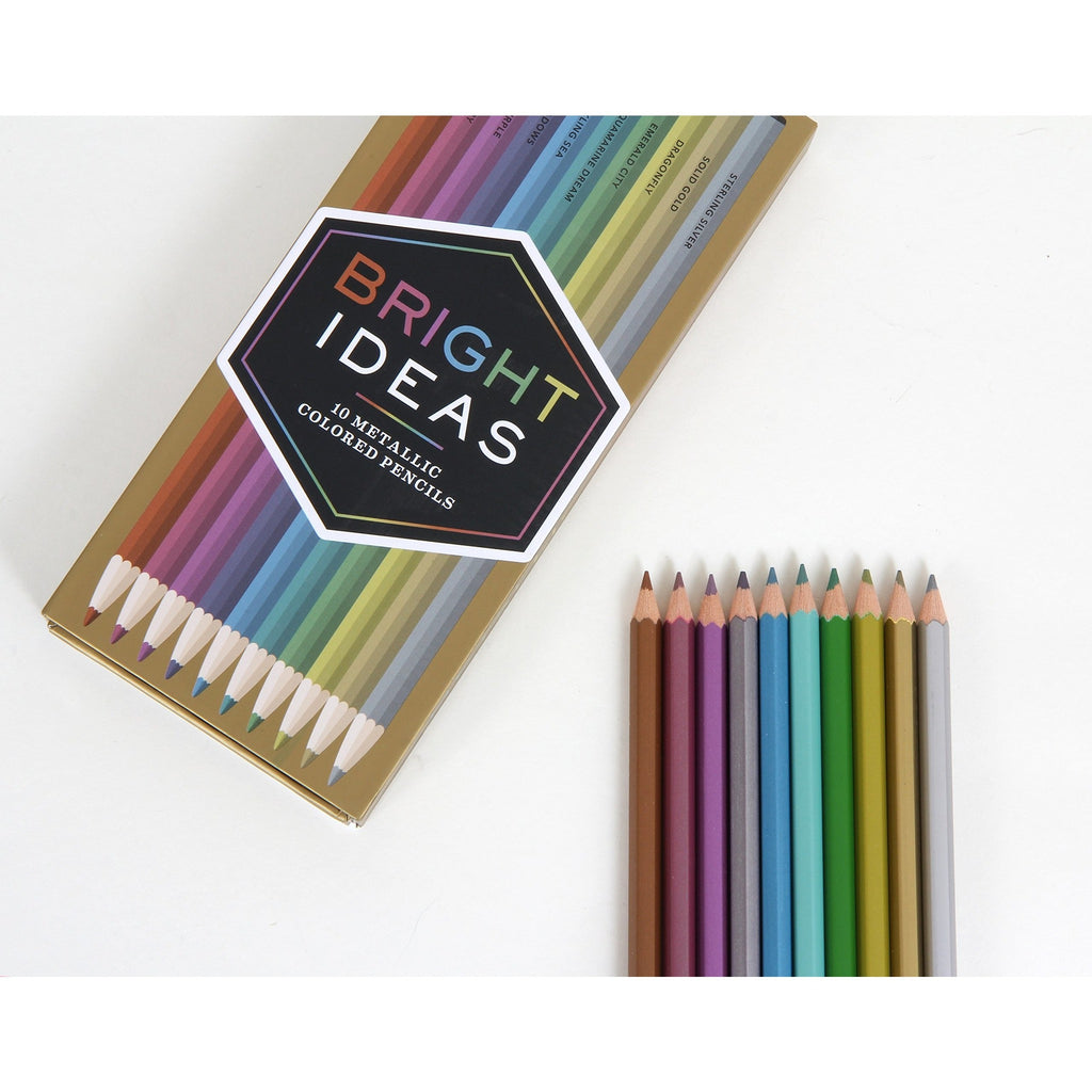 Bright Ideas Metallic Coloured Pencils: 10 Coloured Pencils