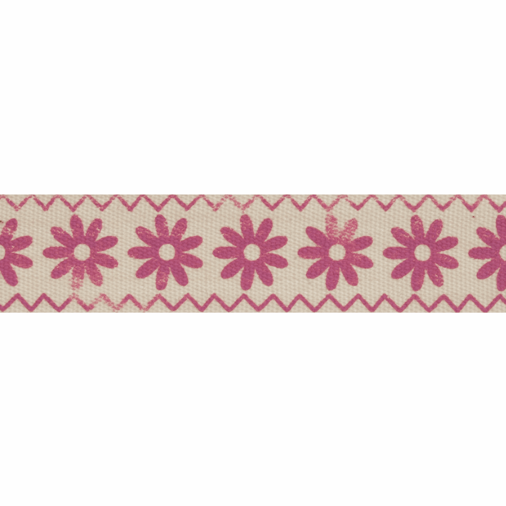Natural Trim- 5m x 15mm - Zigzag Flowers - Pink
