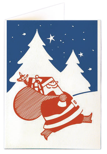 Red Jolly Santa on Blue Card