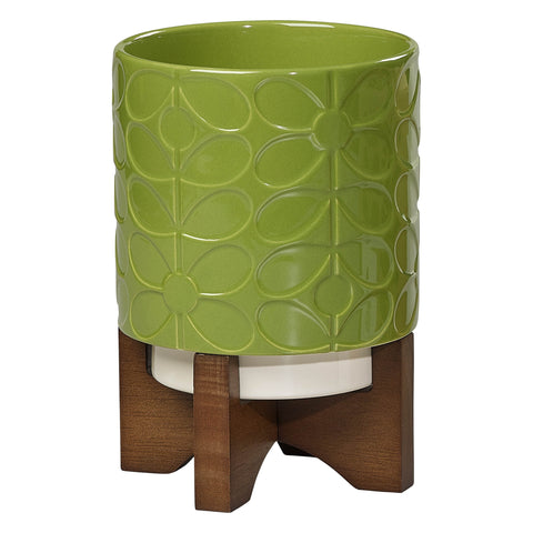 Orla Kiely - Ceramic Plant Pot with Stand 60s Stem Leaf