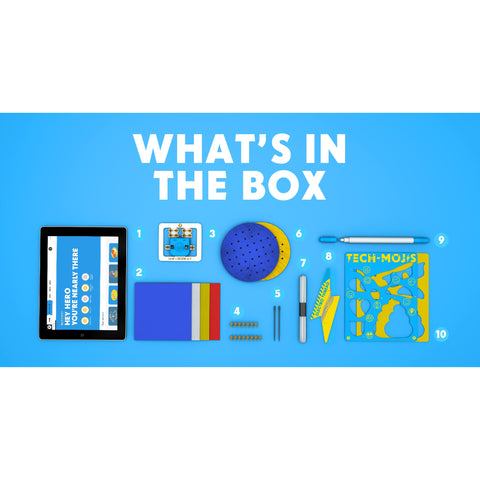 The contents of the set displayed on a blue background.