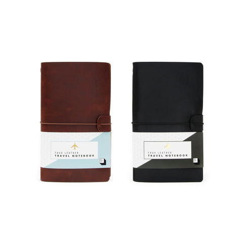 Black and brown notebooks side by side.