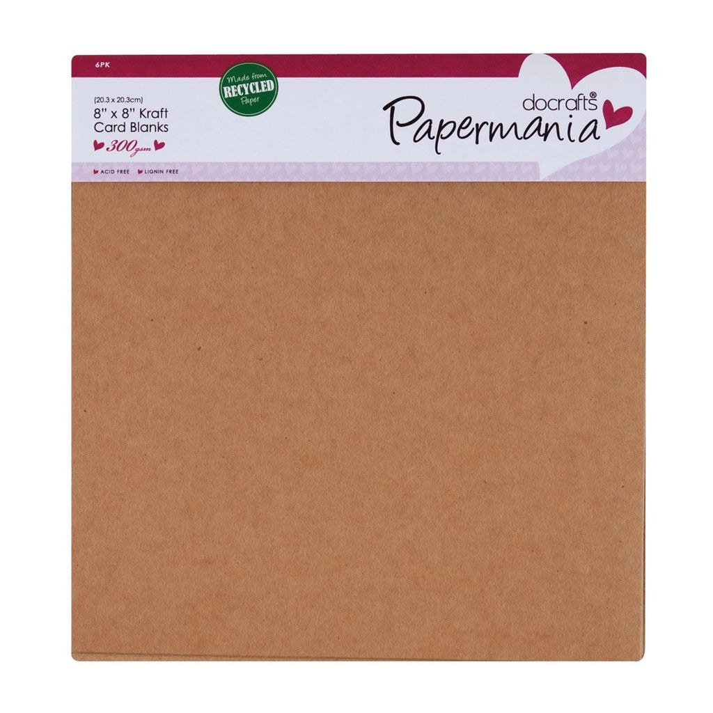 "8 x 8"" Cards/Envelopes (6pk, 300gsm) - Recycled Kraft"