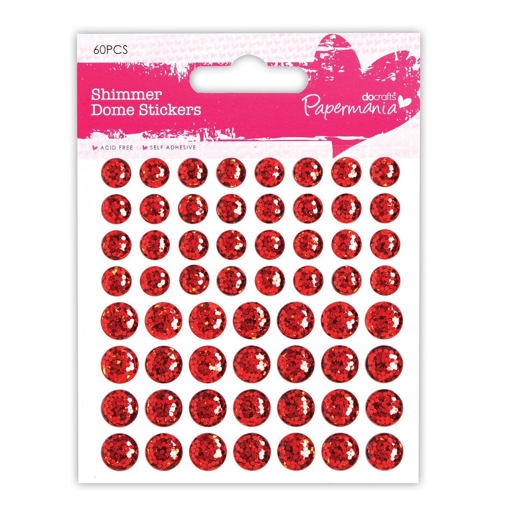 Shimmer Dome Stickers (60pcs) - Red