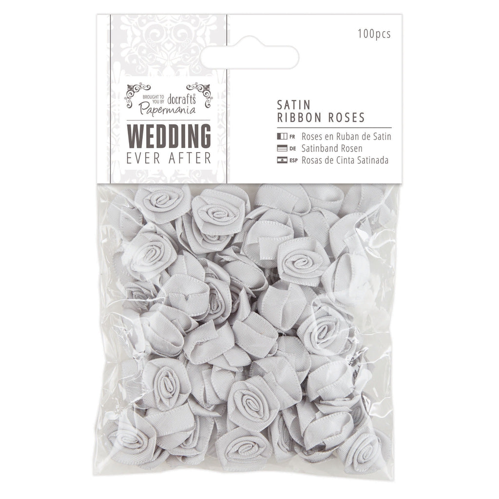 Satin Ribbon Roses (100pcs) - Wedding - Silver