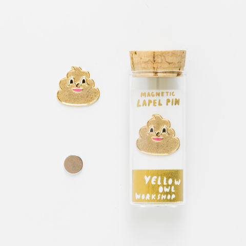 Yellow Owl Workshop Gold Poo Emoji Lapel Pin