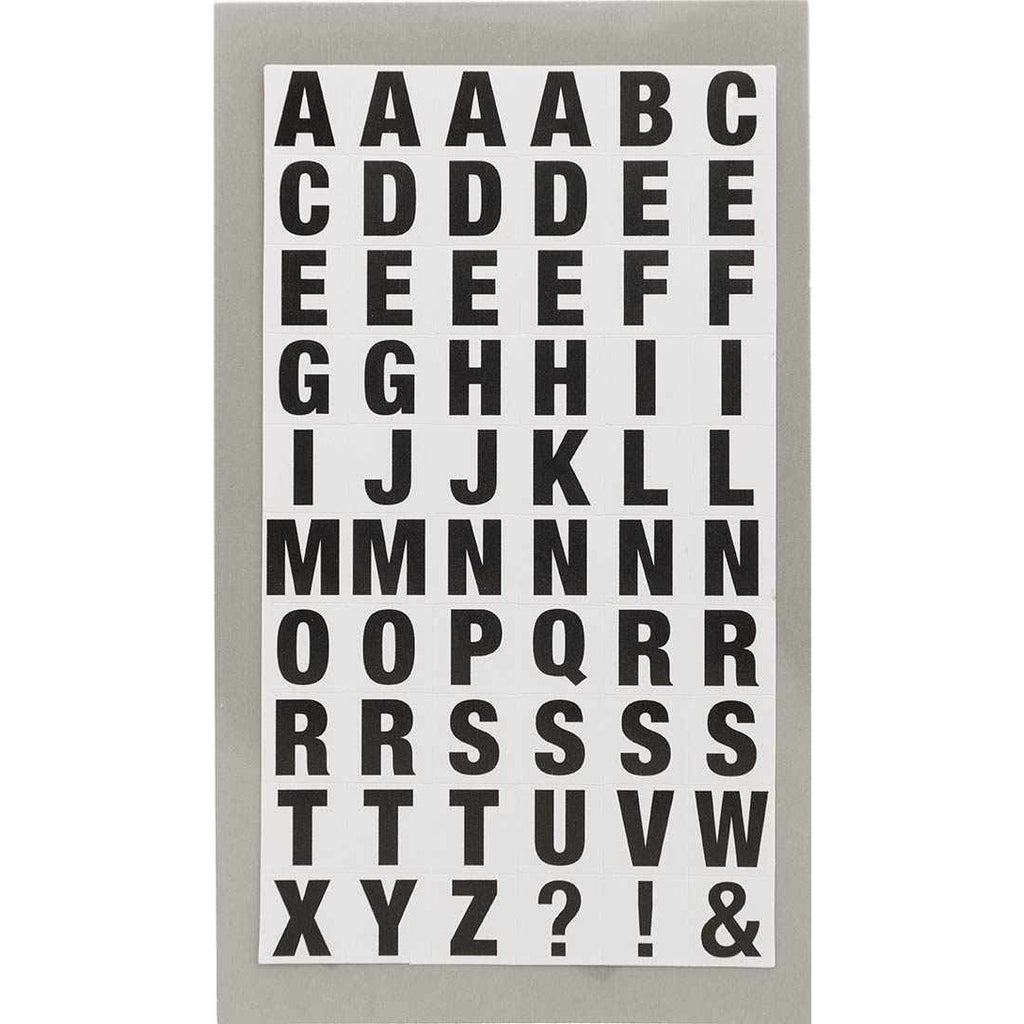 Rico Office Stick Black Letters Sq 4 Sheets 7x15.5 cm