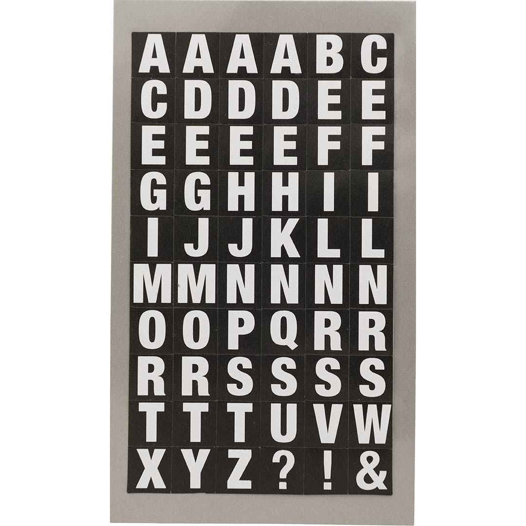Rico Office Stick White Letters Sq 4 Sheets 7x15.5 cm