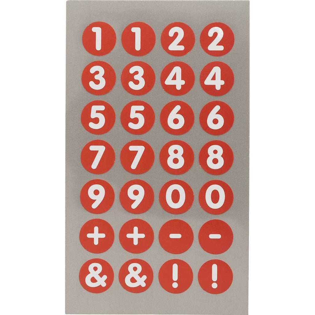 Rico Office Stick Numbers Red 13mm 4 Sheets 7x15.5 cm