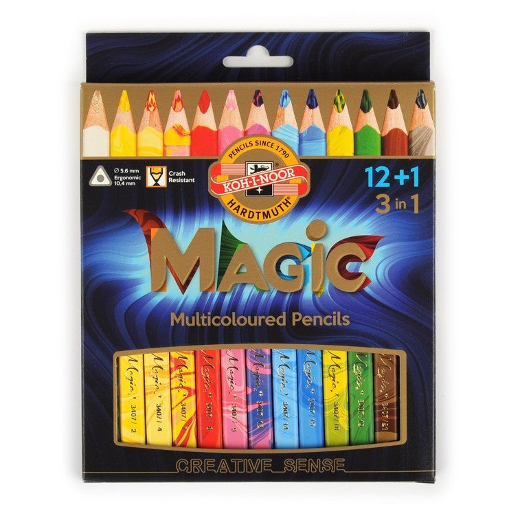 Koh-I-Noor Magic Jumbo Triangular Coloured Pencils Set of 12+1