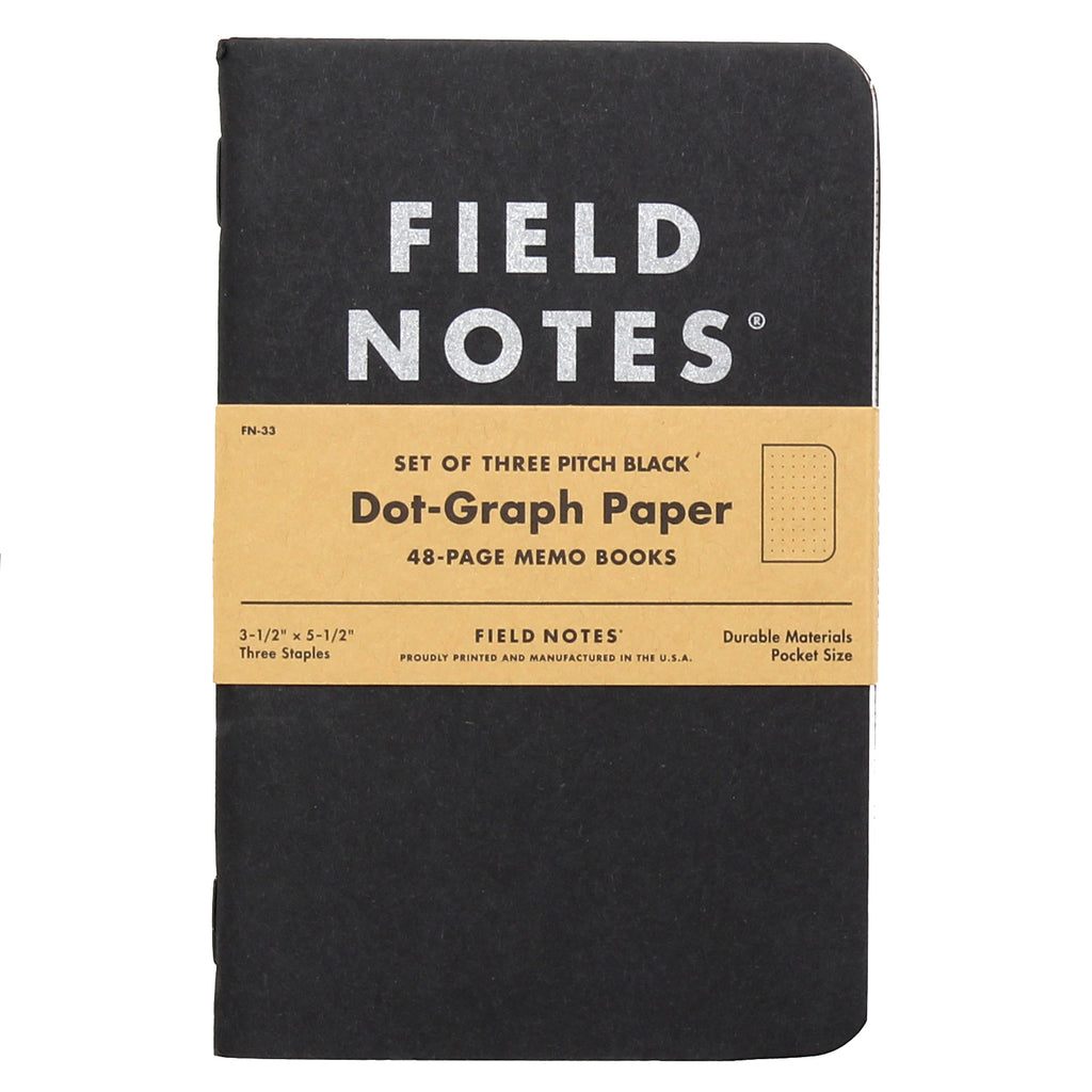 FIELD NOTES Pack of 3 Notebooks - Pitch Black Dot-Graph