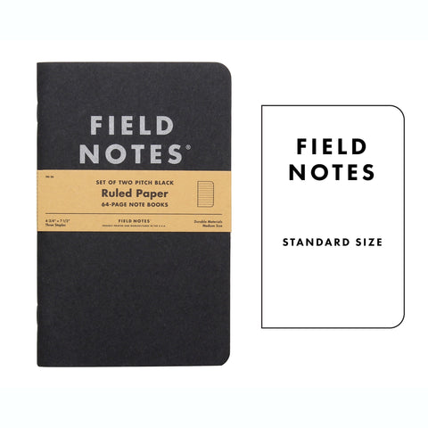 FIELD NOTES Pack of 2 Notebooks - Large Pitch Black Ruled