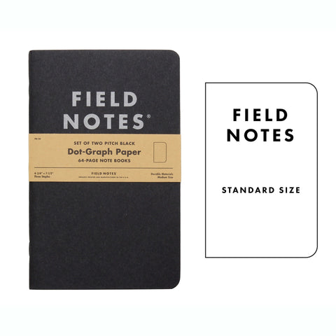 FIELD NOTES Pack of 2 Notebooks - Large Pitch Black Dot-Graph