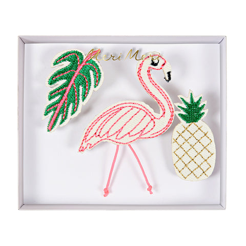 Meri Meri Embroidered Brooches/Tropical