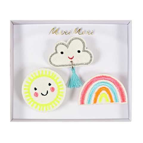 Meri Meri Embroidered Brooches/Weather Faces