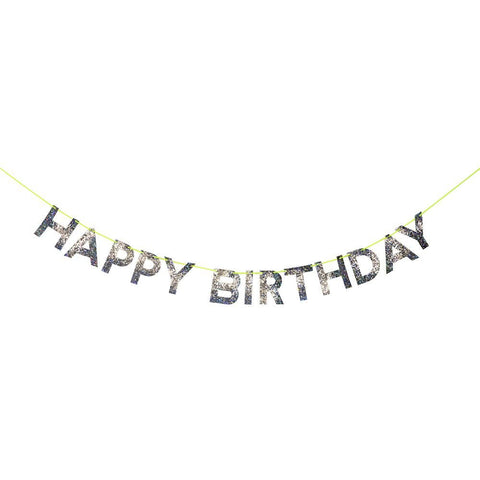 Meri Meri Happy Birthday Holographic Silver Letters