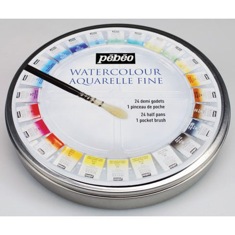 Pebeo Watercolour 24 Half Pan Round Tin