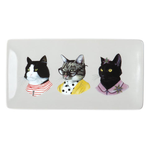 Berkley Bestiary Cat Portraits Rectangle Porcelain Tray